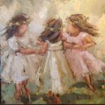 """RING AROUND THE ROSIES 2"" 30X30"" OIL ON CANVAS"