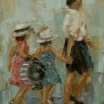"""DADDY'S GIRLS"" OIL ON CANVAS SOLD"