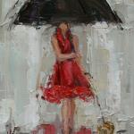 """UMBRELLA GIRL 1""10X12"" OIL ON CANVAS SOLD"
