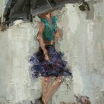 """UMBRELLA GIRL 2"" 9X12"" OIL ON CANVAS SOLD"