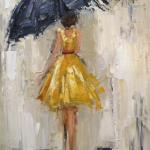 """DANCING IN THE RAIN 1 NEW EDITION"" OIL ON CANVAS 10X14"" sold"