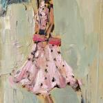 """Lady in Polka Dots"" 12x24"" SOLD oil on canvas; available in giclee"