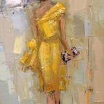 """Lady in Yellow"" oil on canvas 12x24"" available in giclee SOLD"