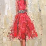 """Lady in Red"" 12x24"" oil on canvas SOLD"