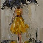 """DANCING IN THE RAIN 1"" 9X12"" OIL ON CANVAS  SOLD"