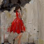 """DANCING IN THE RAIN 2""  9X12"" OIL ON CANVAS SOLD  NOW AVAILABLE IN LIMITED EDITION PRINTS AND GICLEES!!"