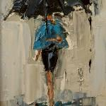"""DANCING IN THE RAIN 3""  9X12"" OIL ON CANVAS SOLD"