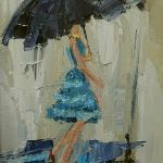 """DANCING IN THE RAIN 5"" 9x12"" oil on canvas  SOLD"