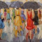 """STROLLING THE CHAMP ELYSEES"" 18X18"" OIL ON CANVAS available through Anne Irwin Fine Art SOLD"